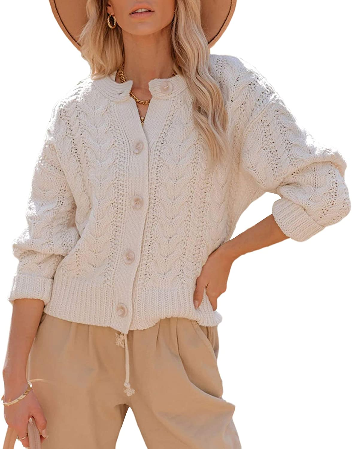 Ybenlow Womens Long Sleeve Open Front Cardigan Sweaters Cable Knit Loose Lightweight Button Down Cardigans Outwear