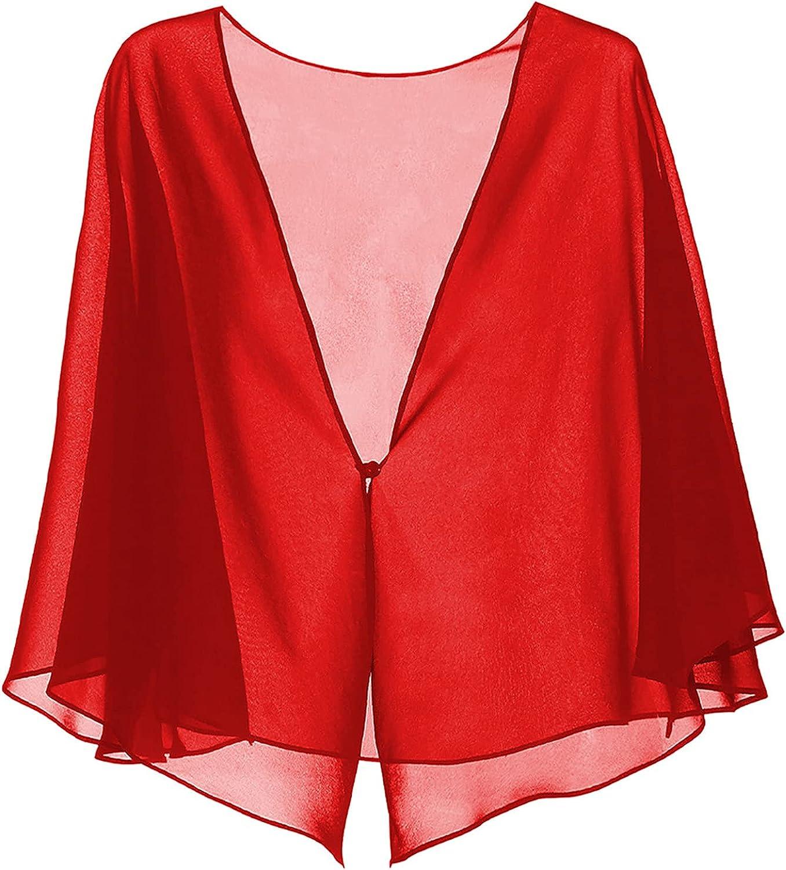 Shinsto Women's Open Front 3/4 Sleeve Sheer Shrug Chiffon Cropped Cropped Bolero Cardigan