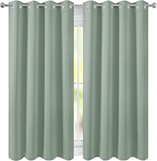 FLOWEROOM Room Darkening Blackout Curtains Thermal Insulated Draperies with Grommet for Girls Bedroom, Nile Green, 52 x 63 inch, 2 Panels