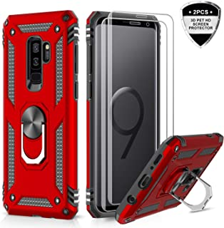 Samsung Galaxy S9 Plus Case with 3D PET Screen Protector [2 Pack], LeYi [Military Grade] Shock Absorption Defender Protective Phone Case with Car Holder Mount Kickstand for Samsung S9 Plus JSFS Red