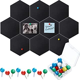 10 Packs Pin Board Hexagon Felt Board Tiles Bulletin Board Memo Board with 20 Pieces Push Pins, Decoration for Home Office...
