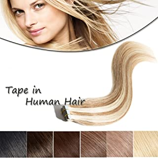 20-22 Inch Tape in Human Hair Extensions 100% Remy Straight Human Hair Professional Seamless Tape Skin Weft Extensions 20pcs 50g/pack Golden Brown & Bleach Blonde(22'',#12/613)+ 10pcs Free Tapes