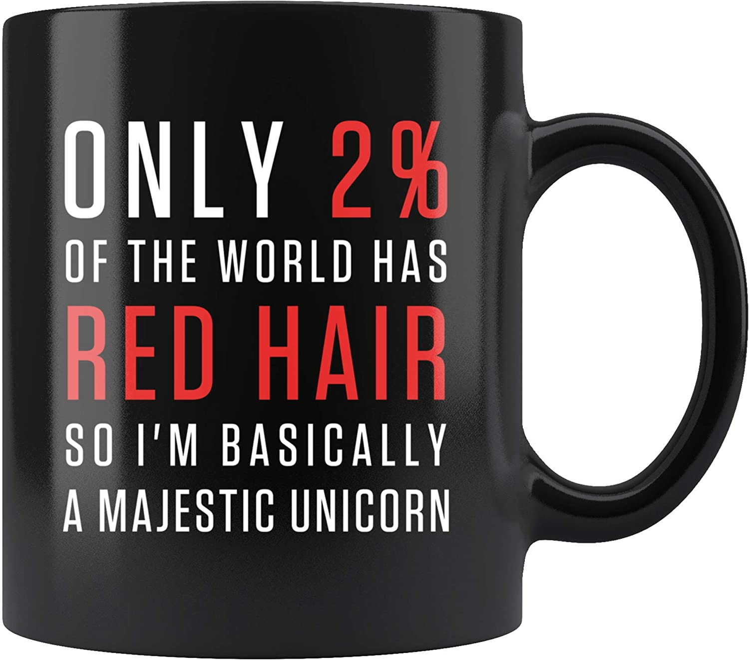 Amazon Com Only 2 Of The World Has Red Hair Coffee Mug 11oz In Black Funny Redhead Gift Kitchen Dining