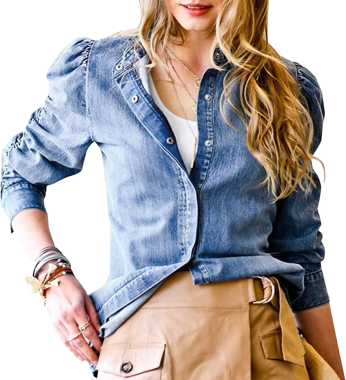 DVCB Women Thin Retro Denim Jacket Oversize Loose Coat Casual Button Down Pockets Long Sleeve