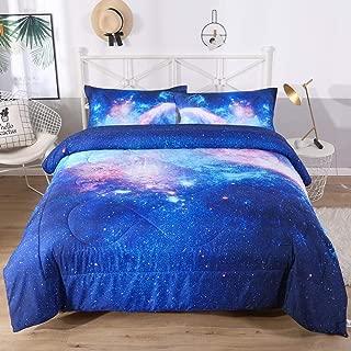 ENCOFT 3D Multi Galaxy Design Comforter Sets Twin/Full/Queen 3 Pieces for Teen Girls, Tencel Cotton Multi Galaxy Comforter Bedding Sets 1 Comforter, 2 Pillowcases