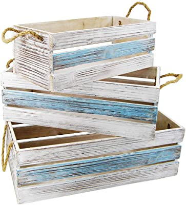 The Bridge Collection Blue & White Striped Reclaimed Wood Crate Set, 3 Piece