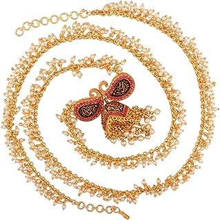 AccessHer Antique Traditional Pearl and Kundan Kairi(Mango) Motif Jhumki Kamarband Waist Belt for Women