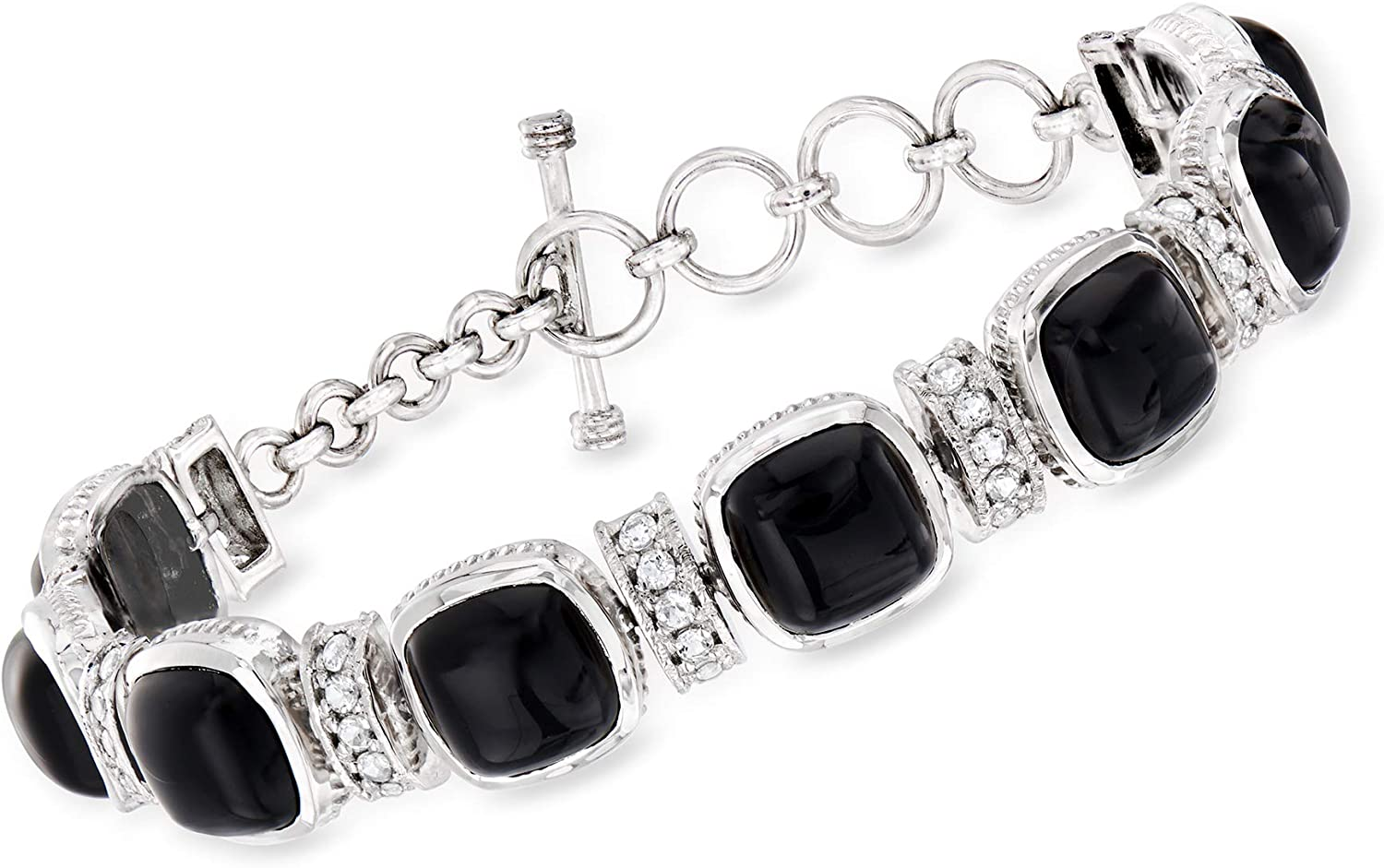 Ross-Simons 10x10mm Memphis Mall Black Onyx and All items free shipping 5.00 White ct. Lin Topaz t.w.