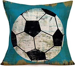Xihomeli Vintage Soccer Pillow Cover 18x18 Inch Throw Pillow CasePersonalized Square Pillow Sham Cotton Linen Decoration New Home Men Women Boys Girls Sofa Couch Bed (Football)