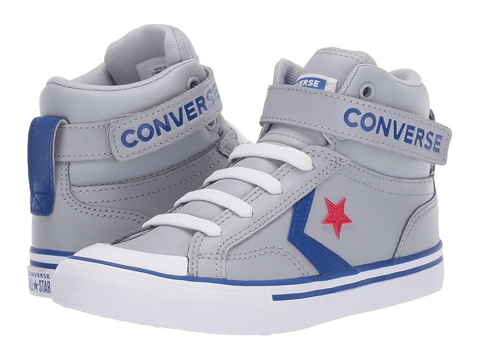 Converse Kids Pro Blaze Strap Hi (Little Kid/Big Kid) (Wolf Grey/Blue/Enamel Red) Boy
