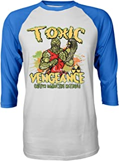 RIVEBELLA New Graphic Shirt Toxic Vengance Novelty Tee Avenger Raglan Quarter Sleeve Men's T-Shirt