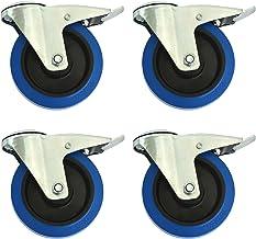 Set van 4 transportwielen met gat voor de rug, Blue Wheels, stuurbaar met rem, elastische rubberen wielen 160 mm, andere m...