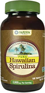 Pure Hawaiian Spirulina - 1000 mg Tablets 180 Count - Farm Grown in Hawaii since 1984 - Natural, Nutrient Rich Superfood -...