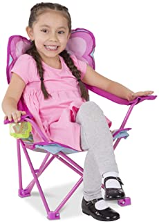 Melissa & Doug Cutie Pie Butterfly Camp Chair (Easy to Open, Handy Cup Holder, Cleanable Materials, Carrying Bag, Gre...
