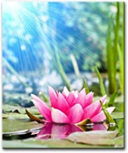 Alva443Anne Pink Water Lily Under Sunshine Lotus Paintings Modern Giclee Stretched And Framed Artwork The Picture For Livi...