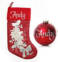 The Christmas Cart Personalised Gifts & Keepsakes Red Poinsettia Stocking and Bauble Pack