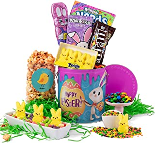 Easter Gift Tin of Chocolate and Candy - Premade Easter Basket Tin Delivered Prime for Kids, Girls, Boys, Teens, Tweens, College Students