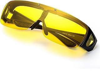 d9ec7ef09105 Oversized Night Vision Glasses, Wrap Around Style, Fit Over Regular  Prescription Glasses with Flip
