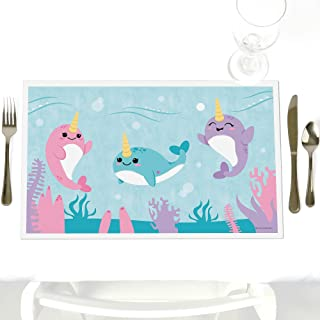 Narwhal Girl - Party Table Decorations - Under The Sea Baby Shower or Birthday Party Placemats - Set of 12