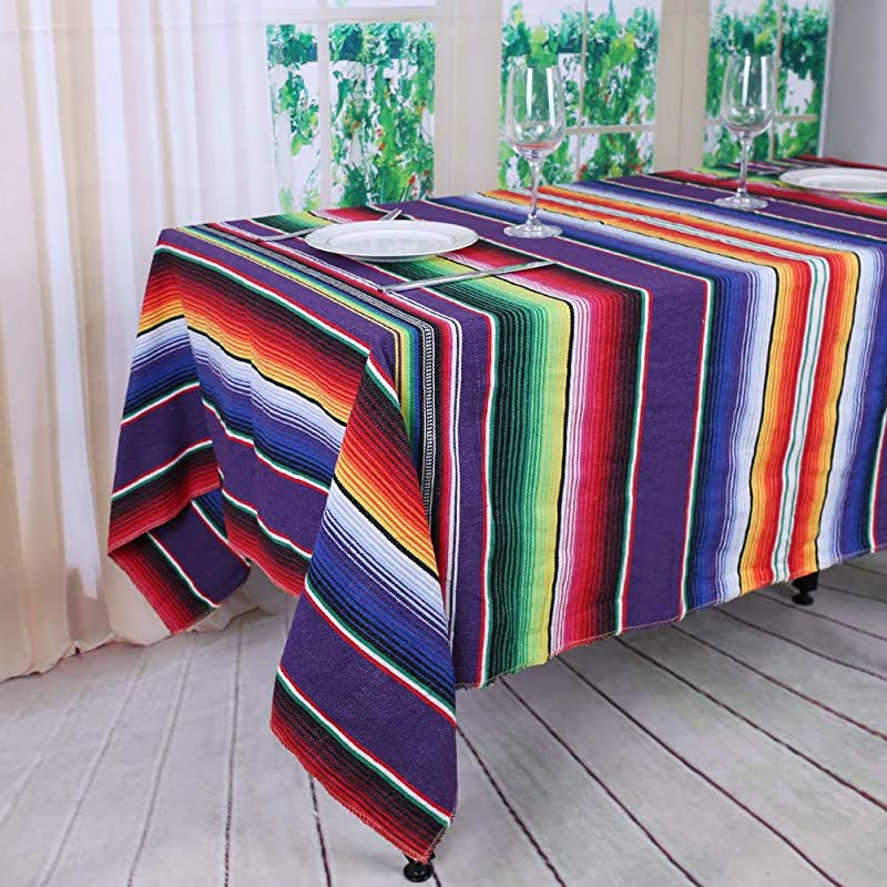 TRLYC Fiesta Themed Party Mexican Blanket DIY Decoration Partycity Baby Shower Birthday Serape Tablecloth 57X72 Inch 145cmx180cm Purple