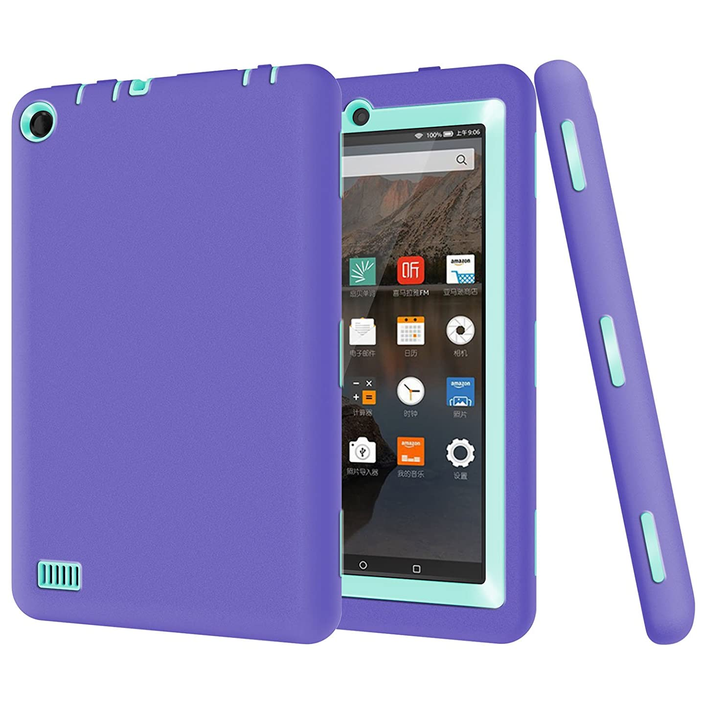 Amazon Fire 7.0 Case, Jeccy 3in1 Full-body Shock Proof Hybrid Heavy Duty Armor Defender Protective Case, Silicone Skin Hard Plastic Case for Amazon Fire 7.0 inch (5th Generation 2015 )