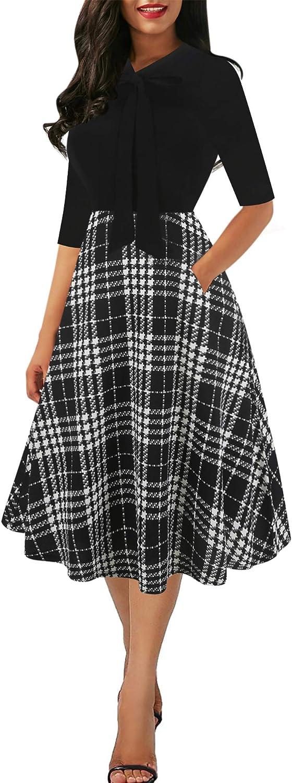 Sakaly Women's Chic Stripe Dot Patchwork Pockets V-Neck Work Swing Dress with Bow-Knot SK278