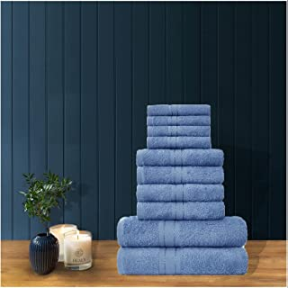 GC GAVENO CAVAILIA Luxury 100% Combed Cotton Bath Sheets Set, Ultra Soft and Highly Absorbent Bathroom Towels, Toronto, Blue