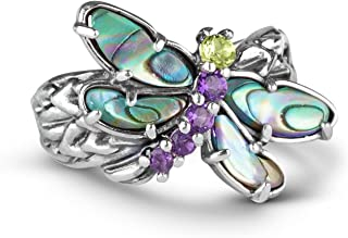 Carolyn Pollack Sterling Silver Abalone, Purple Amethyst and Green Peridot Gemstone Dragonfly Ring Size 05 to 10