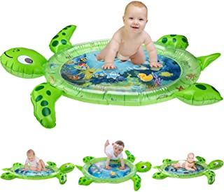 "gebra Inflatable Tummy Time Water Mat Sea Turtle Shape Infants & Toddlers Play Mat Toy, Fun Play Activity Center Your Baby's Stimulation Growth (BPA Free, 43"" 35"" 2.5"")"