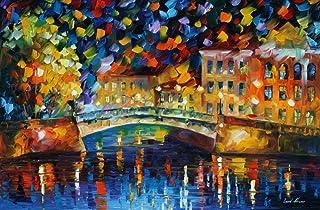 Large Modern Oil Painting On Canvas By Leonid Afremov Studio - Magical Bridge