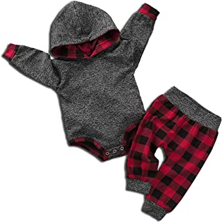 Toddler Newborn Baby Boys Girls Long Sleeve Hoodies Romper + Plaid Pants Sets Sweatshirt Grey 2pcs