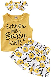 Baby Girl Clothes Set Wild One Sleeveless Vest Tops Floral Shorts with Headband 3PCS Summer Outfit
