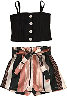 iiniim Toddler Kids Girls Two-Piece Summer Outfit Sleeveless Button Cami Crop Top with Stipe Shorts Causal Wear