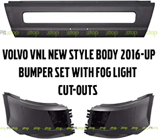 Volvo VNL 2016-2018 Bumper Set WITH Fog Light Cut-out Left Right Center New Style