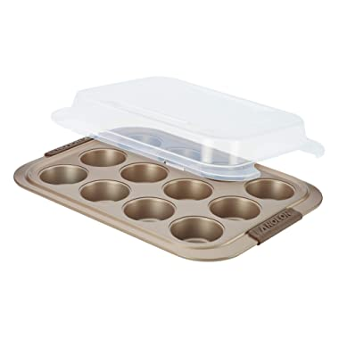 Anolon Bronze Nonstick 12-Cup Muffin Tin With Silicone Grips and Lid / Nonstick 12-Cup Cupcake Tin With Silicone Grips and Lid - 12 Cup, Brown