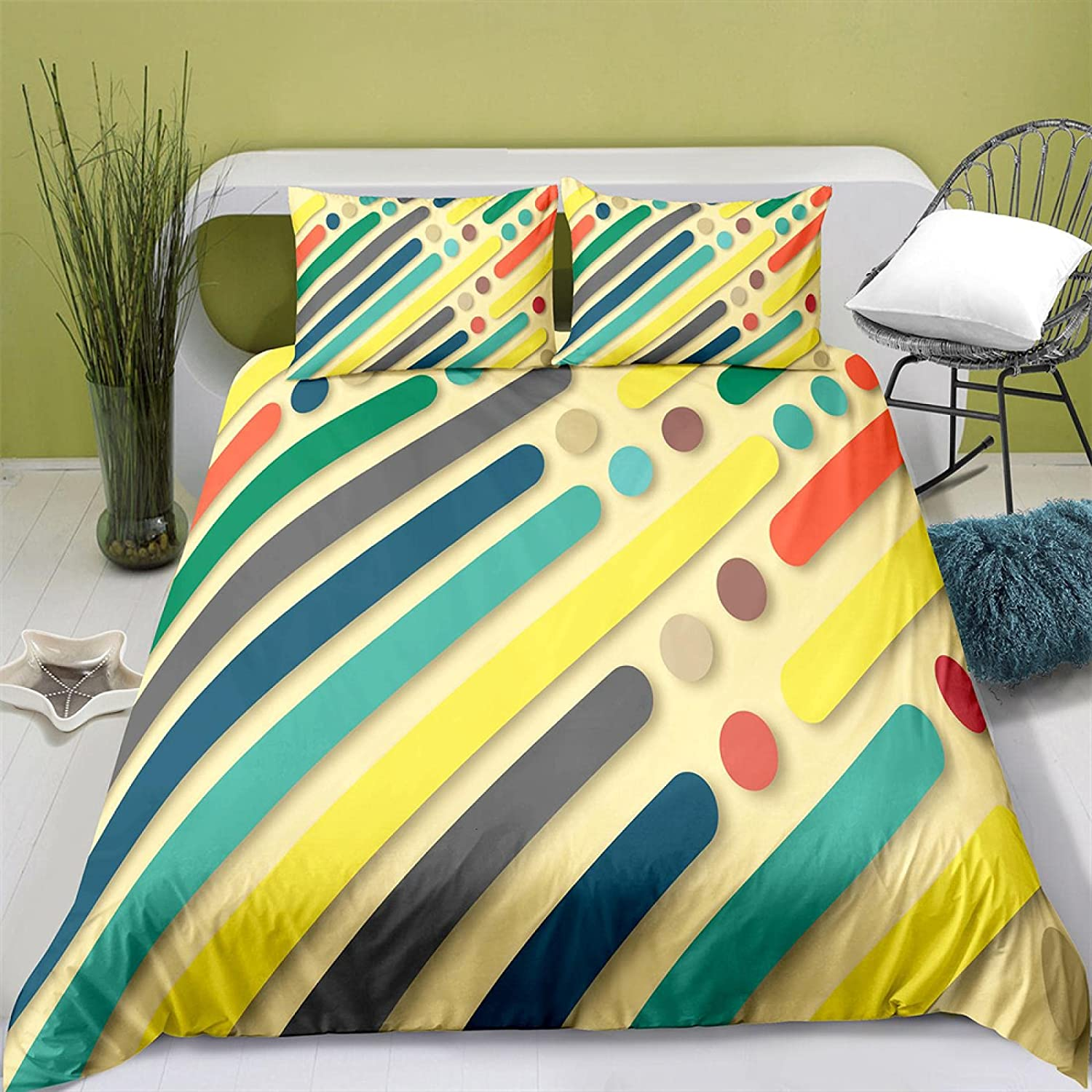 NEW before selling ☆ HQHM Duvet Cover King 3 Pieces Max 41% OFF Color Line 79X79 Wave 3D Inch Art