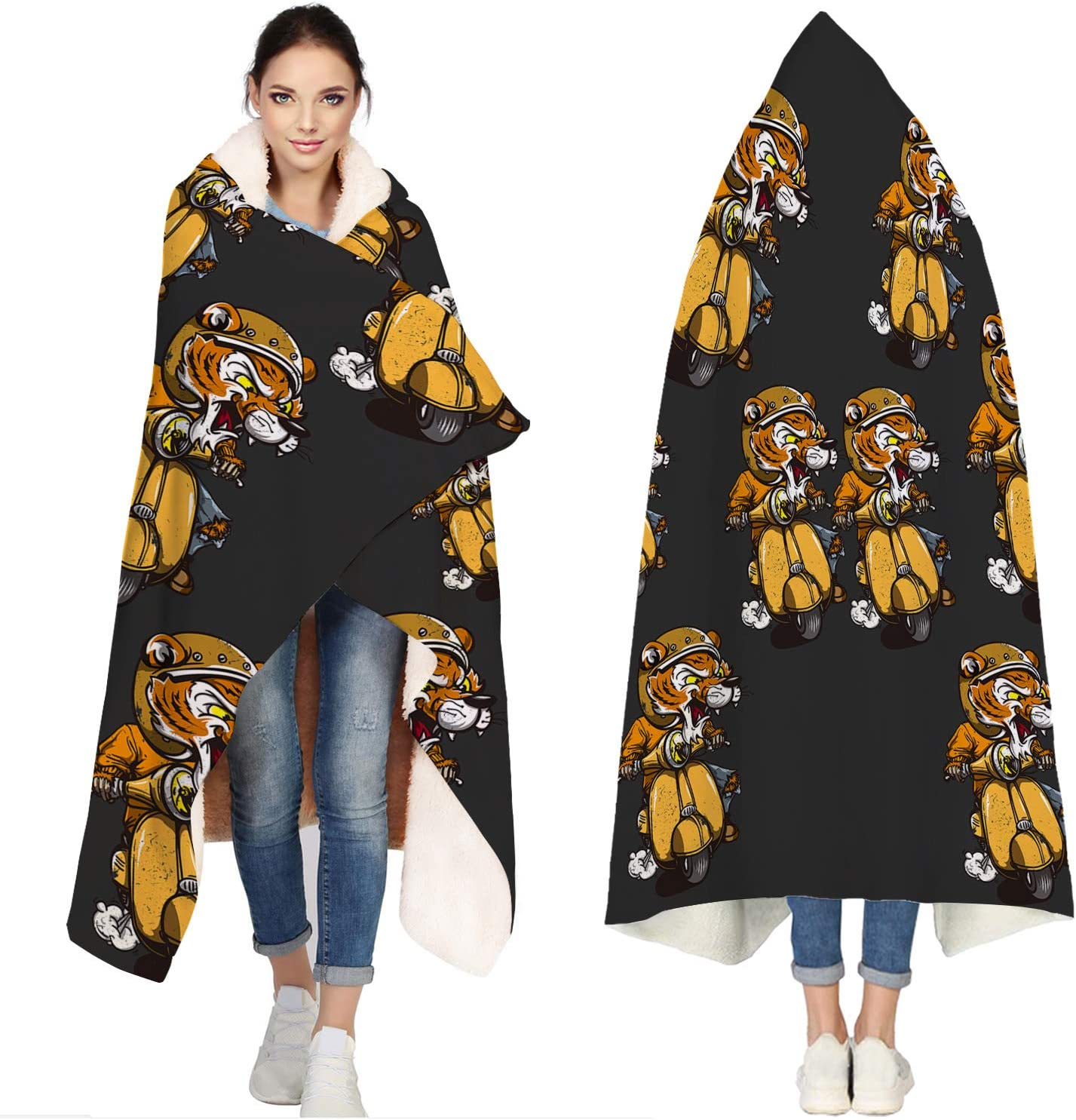 Albuquerque Mall Seven Roses Hooded Blankets Outlet sale feature for Cartoon Motorcycle Adults Tiger