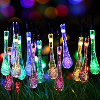 Solar String Lights,23ft 30 LED Fairy Tear Drop Lights,Solar String Lights Outdoor Garden Waterproof Led with Changing 8 M...