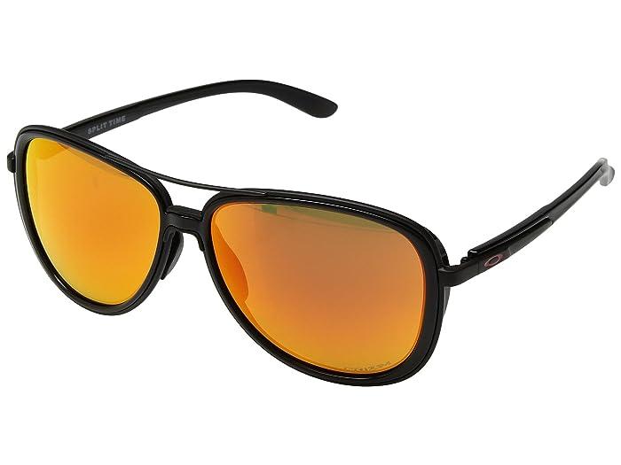 Oakley Split Time (Polished Black/Matte Black w/ Prizm Ruby) Athletic Performance Sport Sunglasses