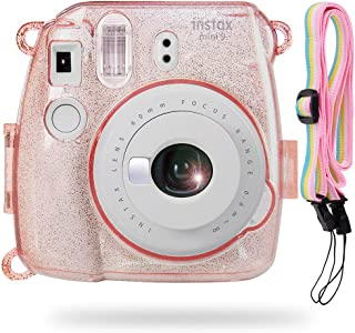 Katia Instax Mini 8 Caja de cristal de PVC con correa de hombro para Fujifilm Instax Mini 8 cámara de película instantánea -Rosado
