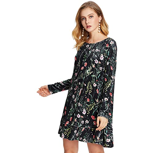 47227ba50b40 Milumia Women s Flower Print Swing Velvet Elegant Dress
