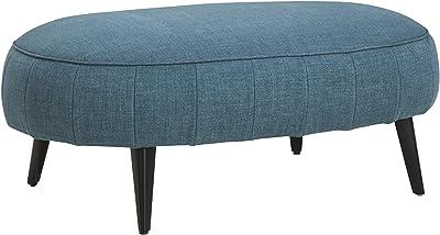 Signature Design by Ashley Hollyann Mid-Century Modern Upholstered Oversized Ottoman, Blue