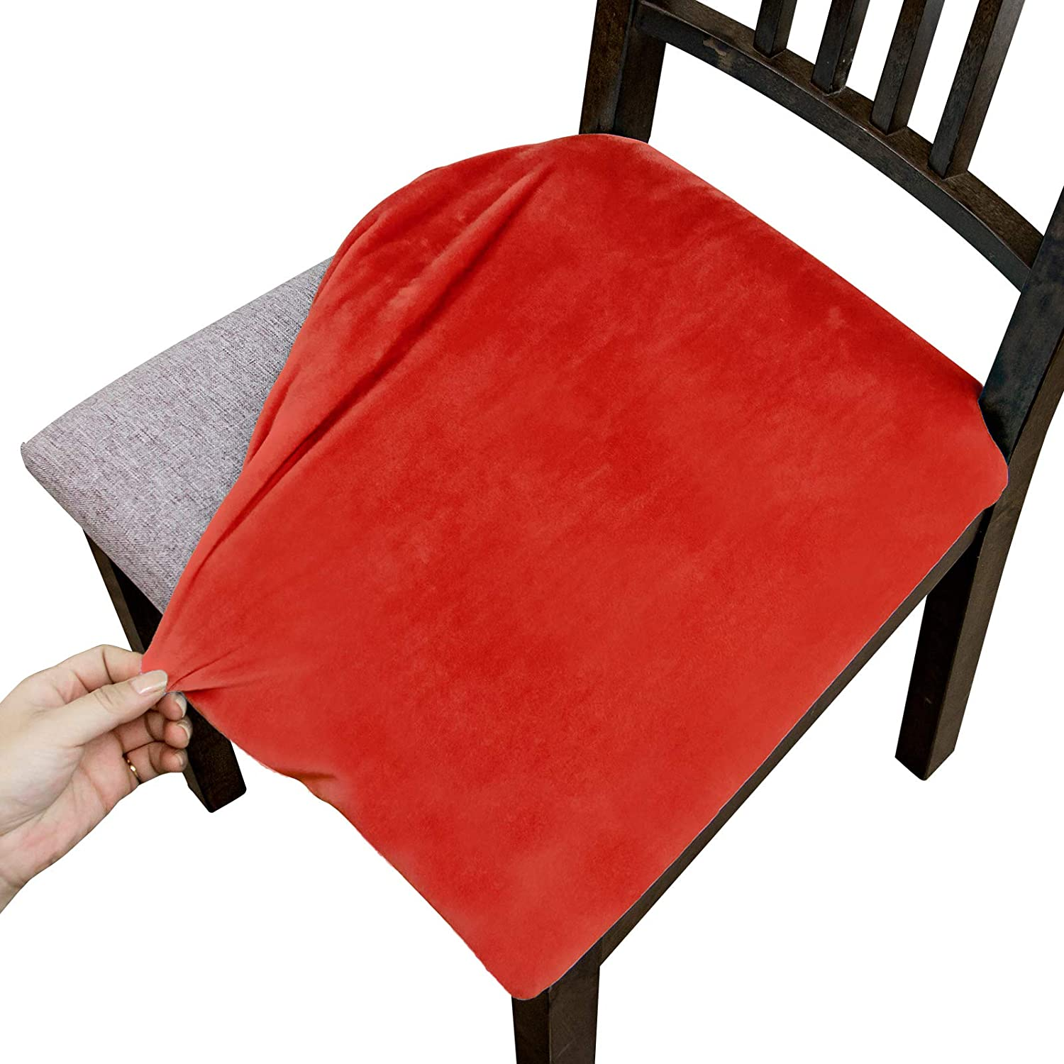Argstar 6 Pack Velvet Seat List price Covers for Room Chairs Dining Plush outlet
