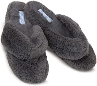 41ef24eb5c38f PajamaGram Soft Flip Flop Slippers - Fuzzy Womens Slippers, Washable