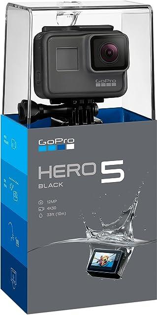 GoPro Hero5 Black - Cámara deportiva de 12 MP (4K 1080p WIFI + Bluetooth control por voz pantalla táctil) color gris y negro