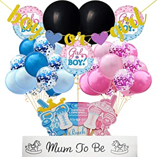 Mix Gender Reveal Party Supplies DIY Gender Reveal Balloon Photo Booth Props Frame Mum To Be Sash Boy Or Girl Banner 77 PCS for Gender Reveal Baby Shower Decorations of Qinsly