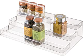 iDesign 64140 iDesign Linus Plastic Expandable Multi-Level Spice Rack, 3-Tiered Customizable Organizer for Kitchen, Bathro...