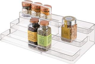 iDesign étagère à épices à 3 niveaux, support à épices extensible en plastique pour le placard de cuisine, étagère de rang...