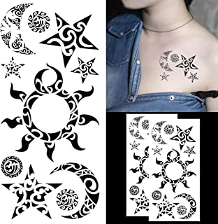 ca37f50e9 Oottati Assorted Temporary Tattoos Star Moon Sun Black Totem For Man and  Women(2 Sheets
