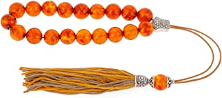 Orange Amber Gemstone, Handmade Greek Worry Beads or Komboloi with Sterling Silver 925 Parts on Pure Silk Cord & Tassel, Length 32cm (12.6'')